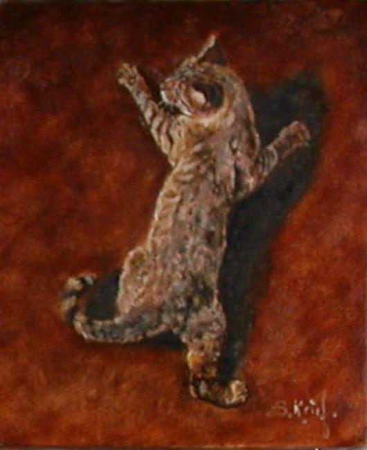 chat perché - Peinture,  20x20 cm ©2009 par Serge KRIEF - Peintre -                            Art figuratif, chat, animaux, chats