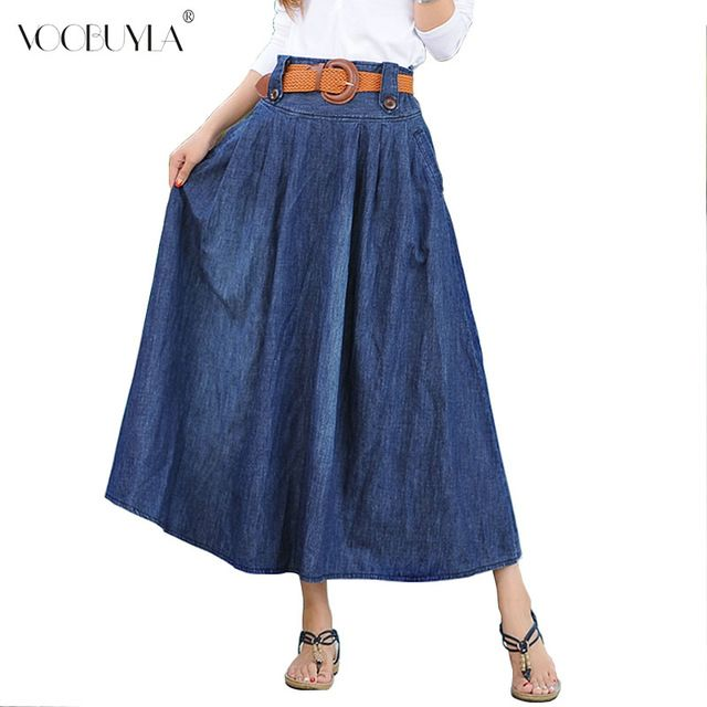 We love it and we know you also love it as well Voobuyla summer Street Style women denim skirts High waist long denim skirt fashion ladies pleated denim skirts for girls  just only $14.79 - 15.56 with free shipping worldwide  #womanskirts Plese click on picture to see our special price for you