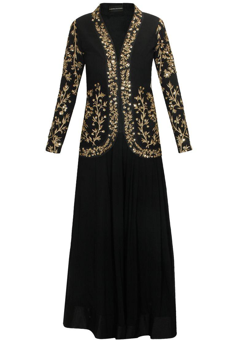 PRATHYUSHA GARIMELLA Black short embellished jacket with black lehenga skirt available only at Pernia's Pop Up Shop.