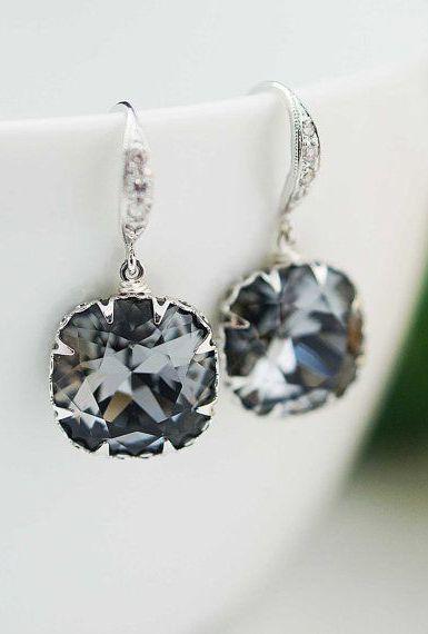 Bridal Earrings Bridesmaid Earrings Rodium