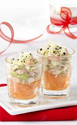 Recept » Colruyt Culinair (zalmglaasjes met appel en garnaal)