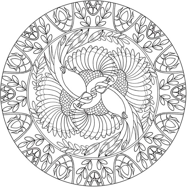 Coloring Page 3 of 6 BIRD MANDALAS by: Jo Taylor a  Creative Haven Coloring Book *** Welcome to Dover Publications