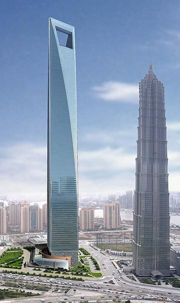Se trata del tercer edificio más alto del mundo, está situado en Shangai, su altura es de 492 metros y tiene 101 pisos. El diseño de este rascacielos es único en el mundo ya que cuenta con una abertura en la punta para solucionar la presión del viento sobre el edificio