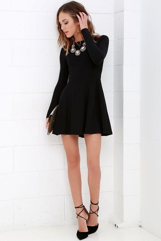 78  ideas about Long Sleeve Black Dress on Pinterest - Black long ...