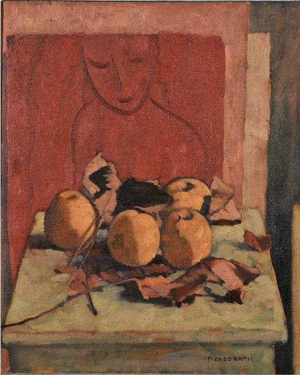 Felice Casorati (Italian, 1883-1963), Natura morta, pesce e foglie secche, 1943. Oil on canvas, 46 x 38 cm