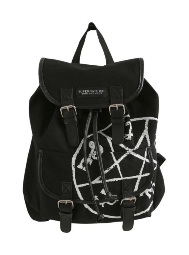 Black slouch backpack from Supernatural with runes design. Snap button and drawstring closure.