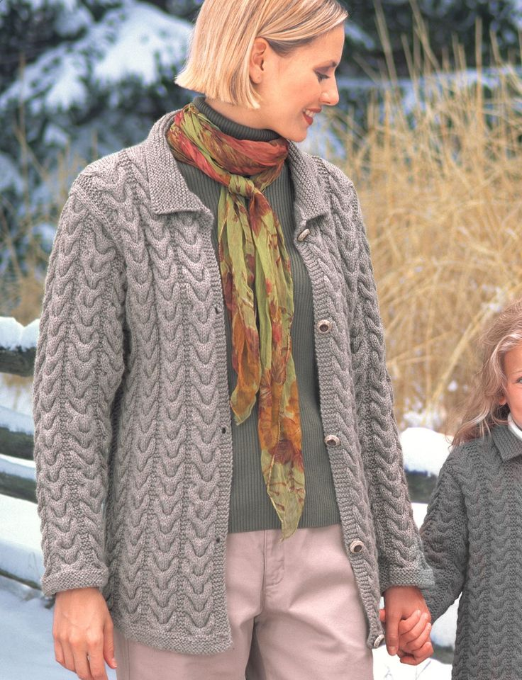 Knitting Patterns For Ladies Cardigans Free : Yarnspirations.com - Patons KW - Ladies Cuddly Cables Cardigan (knit) - Patte...