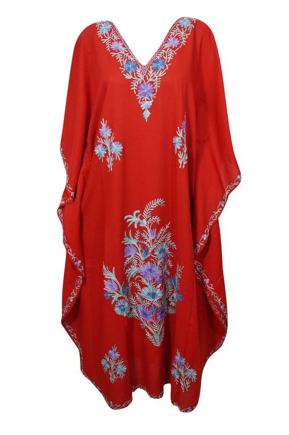 ec379b95d7 Bright Red Floral Maxi Caftan Kimono Sleeves Bikini Cover Up Long Kaftan  Dress 3XL | Abaya Caftan Dress | Dresses, Caftan dress, Tunic tops