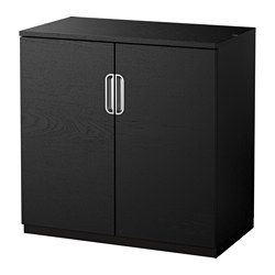 IKEA - GALANT, Cabinet with doors, black-brown, , 10-year Limited Warranty. Read about the terms in the Limited Warranty brochure.Suitable for use in the middle of a room since it is finished on the back.Integrated damper makes doors close silently and gently.Space behind the shelves makes it easy to collect and lead cords and cables to the cord outlet in the back.You can adjust your storage according to your needs, as the shelves are adjustable.The included hook can be used to hang bags…