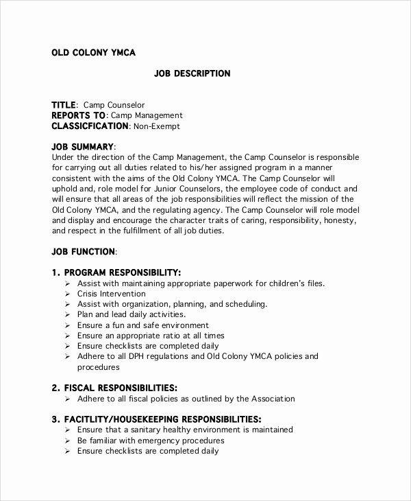 Camp Counselor Resume Description Unique Free 9 Sample Camp Counselor Job Description T In 2020 Camp Counselor Job Description Job Description Template Job Description