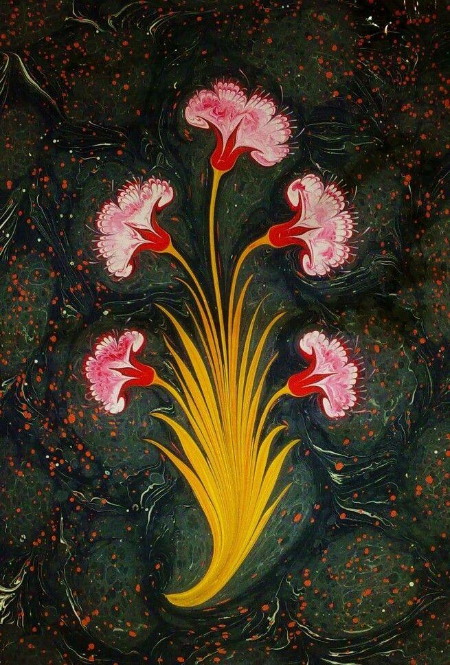 Mahmut Peşteli. Ebru marbled flower
