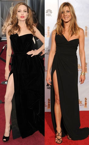 Jennifer Aniston at the Golden Globes in 2010 and Angelina Jolie at the Oscars in 2012. What do you think?~~I still think Jennifer has more beauty in her little finger than Angelina has in her whole body~!