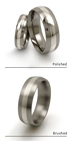 Titanium Rings With Precious Metal Inlay....personally i would add a small diamond. Men deserve something shiny too