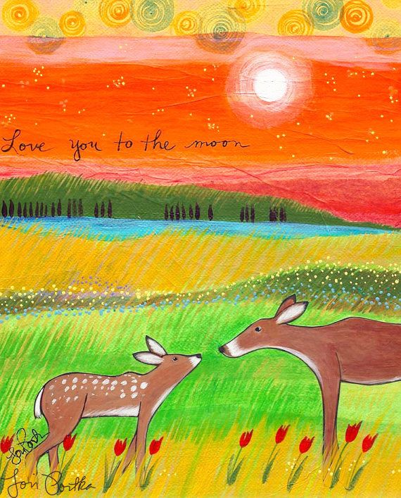 Print : Love You to the Moon by LoriPortka on Etsy
