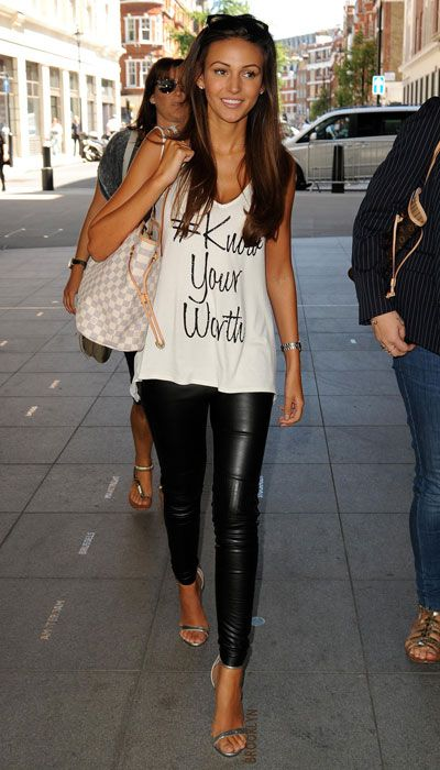 Michelle Keegan - know your worth lipsy tee, leather look like legging, two strap ankle strat high heels sandals. Beauty on High Heels #Fashion