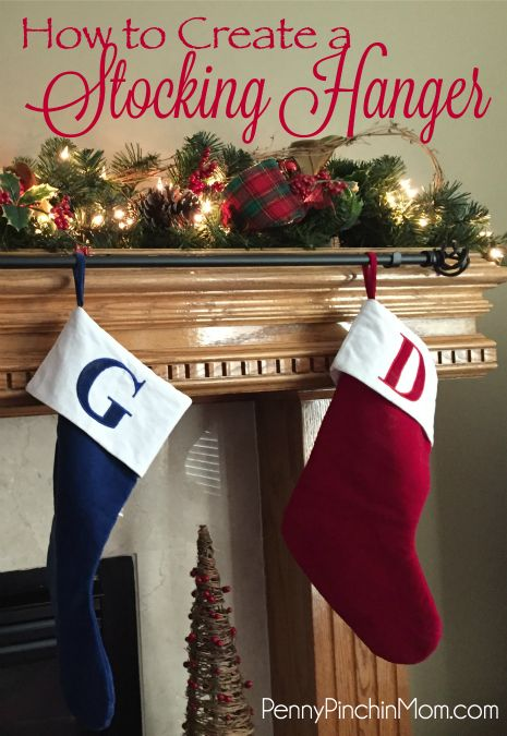 How to Create a Stocking Hanger for Christmas. We have a very pretty fireplace and mantle.  It is very ornately made and has lots of curves and detail.  Well, I love it until it is time to hang our stockings. Because of the different curves, we can not use any stocking hangers. Nope.  None of them.   All I had to get were 2 things to create a diy holder...click through to discover.