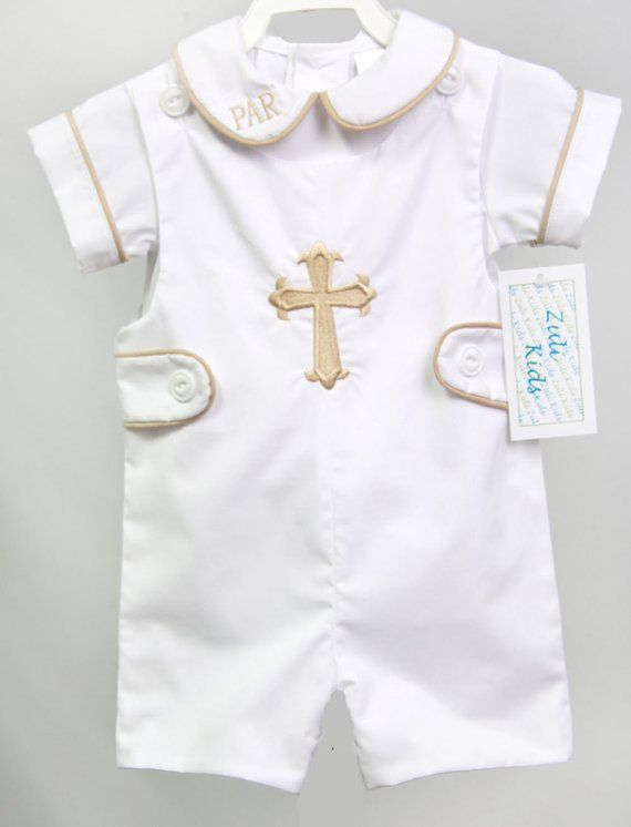 284a0dcf2f Our newborn baptism outfit for Baby Boy is a baby Jon Jon. It little outfit  comes in short or long jon jon. Baby boy baptism outfit and comes with cross .