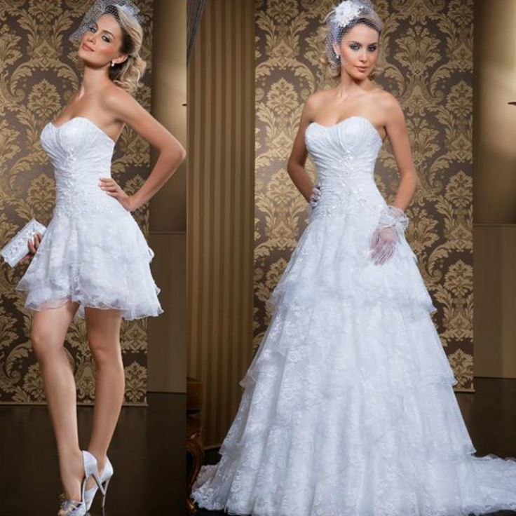 Vintage Two Pieces Lace Wedding Dresses 2016 Spring Ruched Tiers Short Bridal Dress Gowns With Detachable Skirt