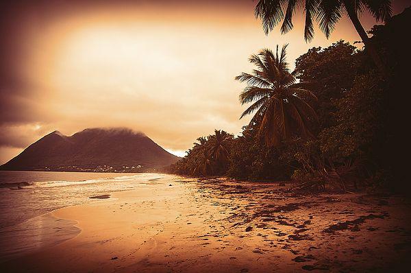 "Sunset Sandy Beach Sunset Caribbean Coast with Sandy Beach Art Photography. From ""Caribbean"" Photo Art Prints."