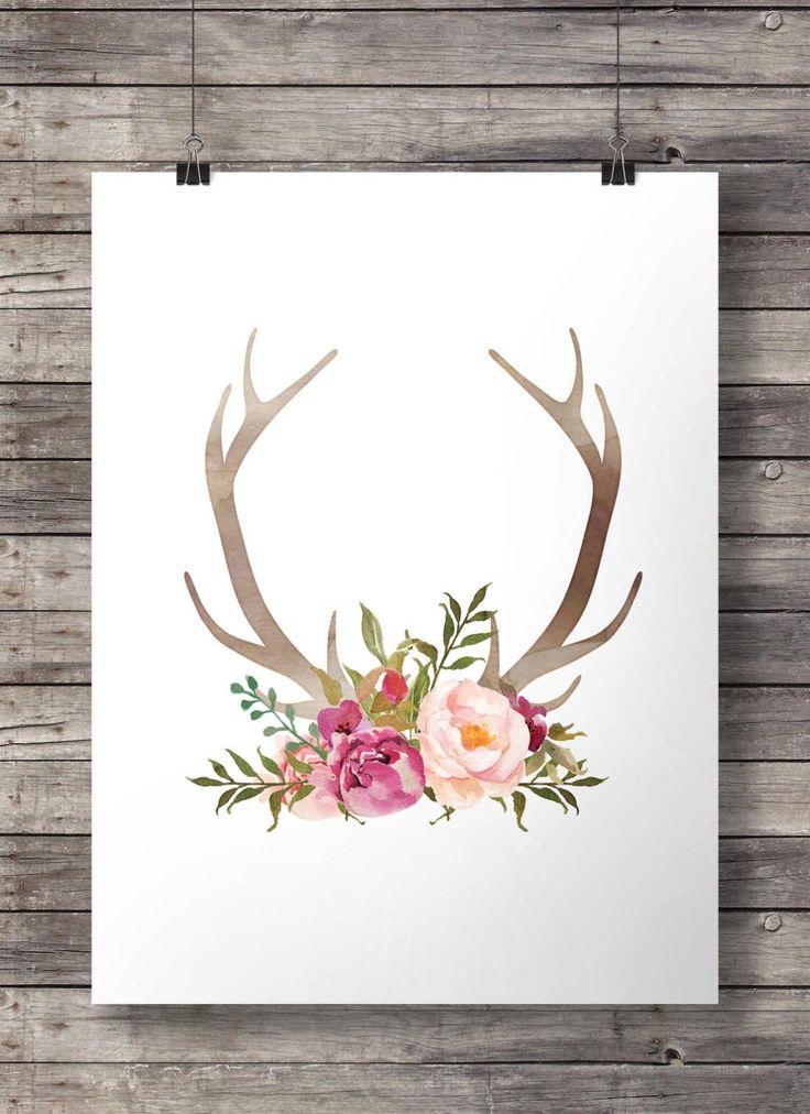 Watercolor Antlers flowers print Printable Antlers wall art Valentine gift art print Watercolor Antlers flowers print pink watercolor