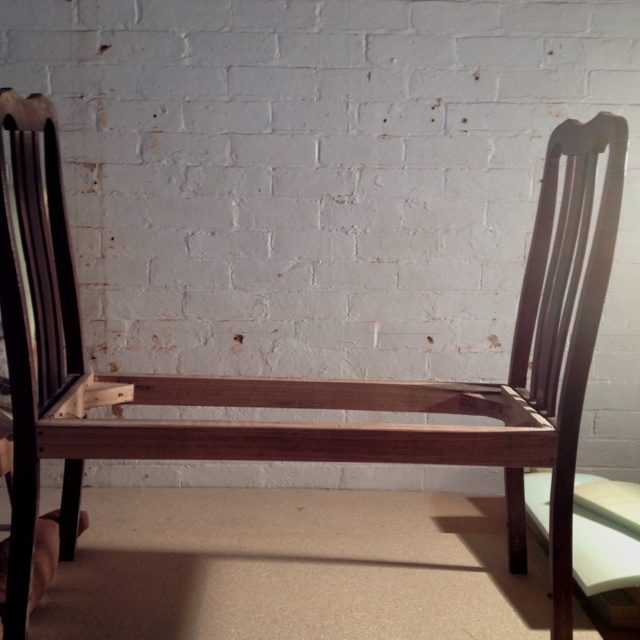 Next project....Turning two broken dinning chairs in to a new bench seat.