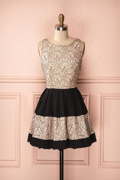 Cadice - A-line summer black dress with open back and light peach lace.
