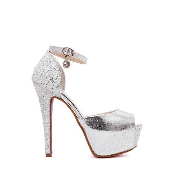 Sexy Ankle Strap and Sequins Design Peep Toe Shoes For Women #CLICK! #clothing, #shoes, #jewelry, #women, #men, #hats