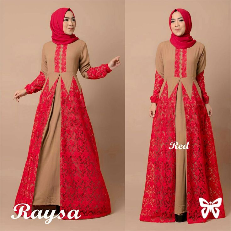 Model-Gamis-Terbaru-Long-Dress-Muslim-Cantik-Kombinasi-Brukat-Warna-Merah.jpg (1280×1280)