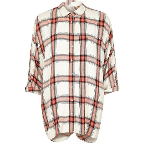 River Island Orange check slouchy wrap back shirt (25 CAD) ❤ liked on Polyvore featuring tops, orange, shirts, women, white wrap top, white top, long sleeve wrap top, white cotton tops and orange long sleeve shirt