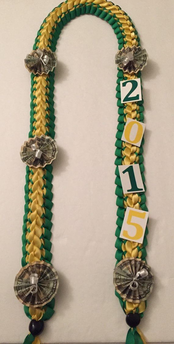 Hand Crafted Double Braided Ribbon Lei, Graduation Money Lei, Braided Ribbon Stole with Folded Money Fans and Year (100 Dollars on Lei)