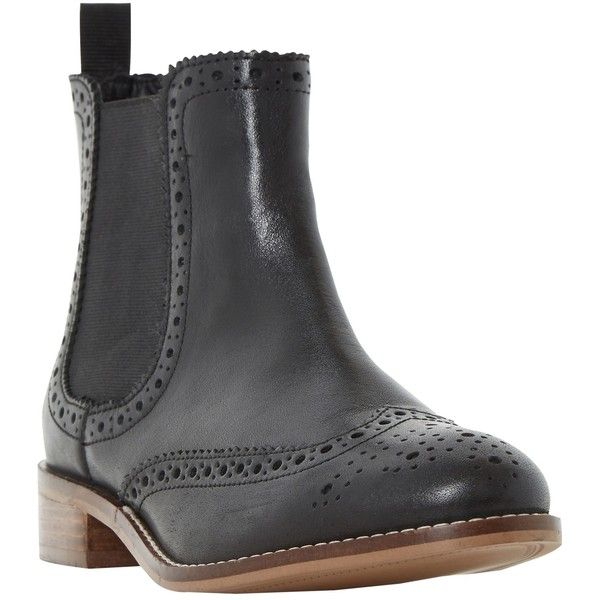 Dune Quenton Brogue Chelsea Boots , Black (6,375 MKD) ❤ liked on Polyvore featuring shoes, boots, ankle booties, black, ankle boots, short black boots, black leather boots, flat ankle boots and leather ankle boots