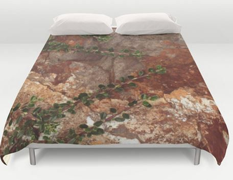 Brown Bed Cover -  Duvet Cover - Bed  Spread -  Duvet Cover Only - Rocks and Leaves - Nature - Rustic - Made to Order