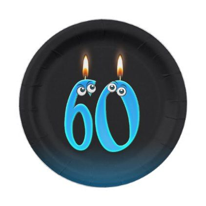 60th Birthday with lit candle numbers Paper Plate - birthday diy gift present custom ideas