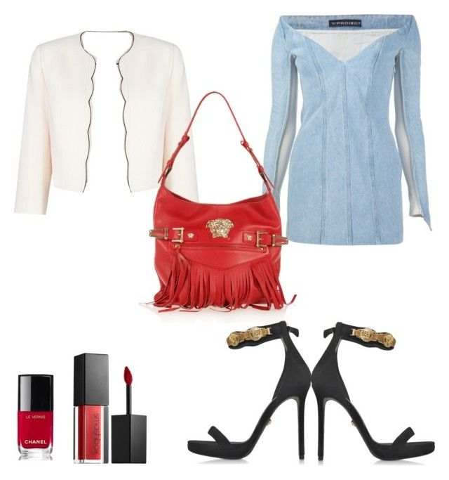 """""""Jeans dress"""" by aleksaaryal on Polyvore featuring Y/Project, Jacques Vert, Versace, Smashbox and Chanel"""
