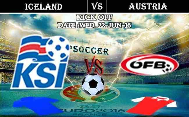 Iceland vs Austria 22.06.2016 Free Soccer Predictions, head to head, preview, predictions score, predictions under/over EURO Cup 2016 Group Stages