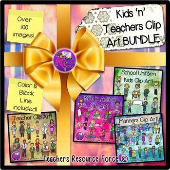Kids and Teachers clip art bundle! Over 100 images color & black line