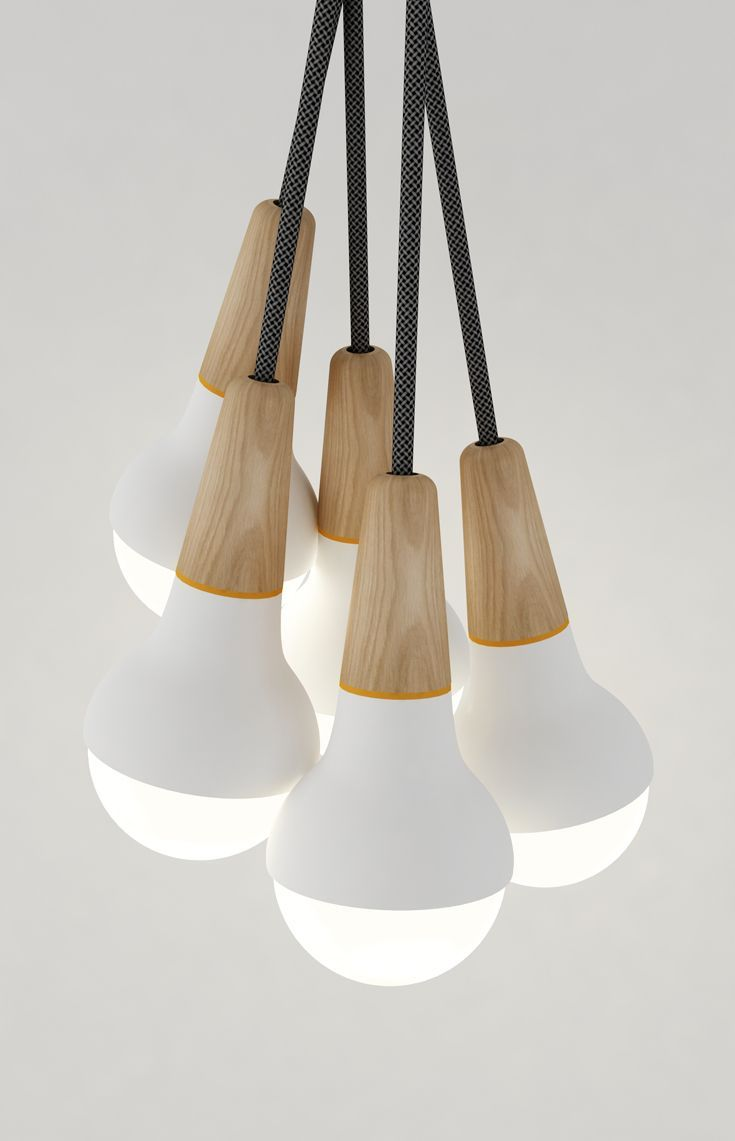 Scoop cluster pendant lite - American Oak with powder coated aluminium spun body in white or black. / Stephanie Ng Design