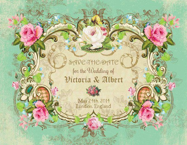 Victorian Wedding Save the Date postcard, Personalized, choice of printed cardstock, print at home PDF via email, or fridge magnet. Please kindly share thank you!! Compártelo con tu red de contactos por favor y gracias!