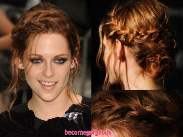 Braided updo on Kristen Stewart | Kenra Professional Hairstyle Inspiration.