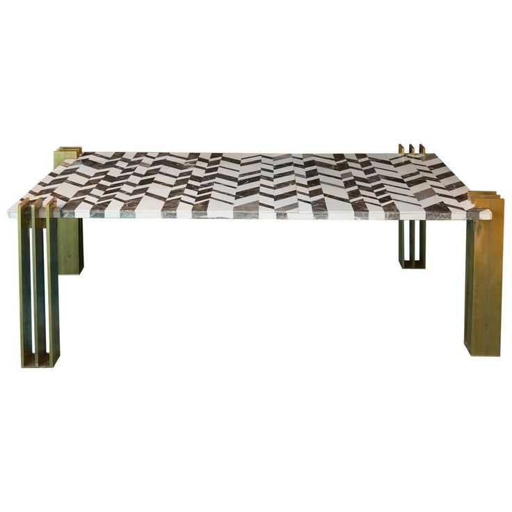 1970s Marble Intarsio and Brass Coffee Table | From a unique collection of antique and modern coffee and cocktail tables at https://www.1stdibs.com/furniture/tables/coffee-tables-cocktail-tables/