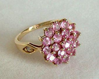 Anillo de zafiro rosa zafiro 9ct oro anillo anillo de