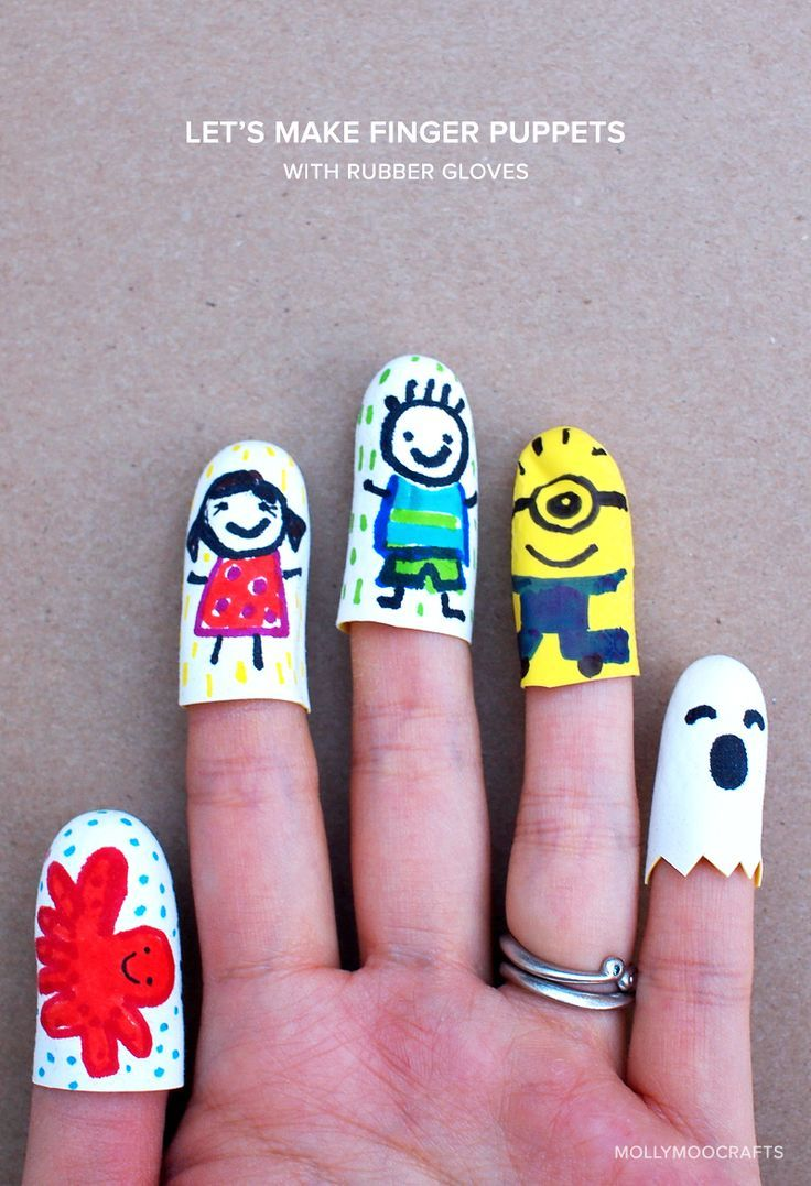 Let's make cute finger puppets in minutes... from rubber gloves! So fun for storytelling and pretend play.