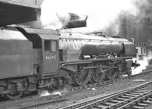 Duchess no.46245 City of London. Birmingham (New Street). 22 August 1963 by ricsrailpics, via Flickr