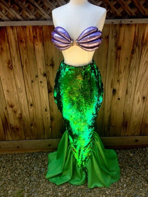 Dreaming... Ariel Resin Shells and Tail Sequin Walkable Custom Adult Mermaid Costume