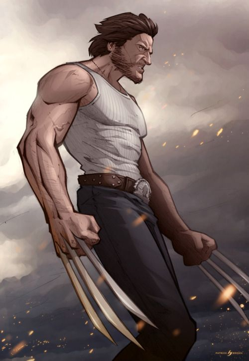 Hugh Jackman as Wolverine // artwork by Patrick Brown (2012)