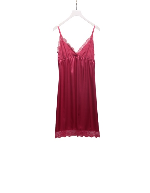 Strawberry colored dress in silk satin