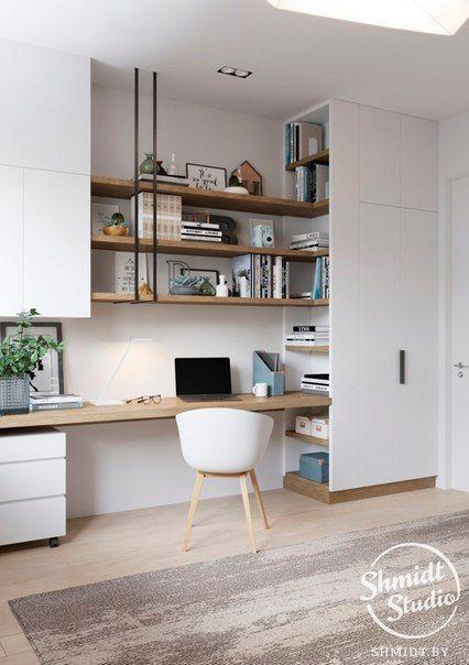 Scandi style home office interior design open shelving above desk