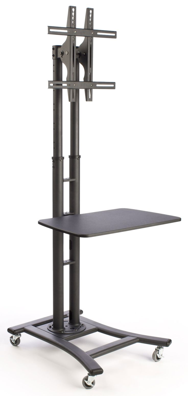 tv stand w 28 shelf fits monitors 32 to 70 height adjustable black tradeshow. Black Bedroom Furniture Sets. Home Design Ideas