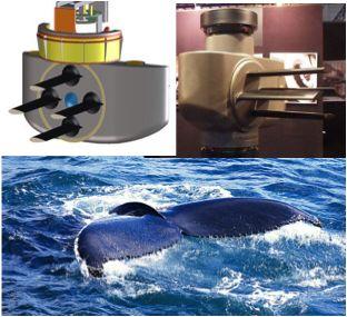 Aandrijving van boten op basis van de beweging van de staart van de walvis bespaart brandstof.
