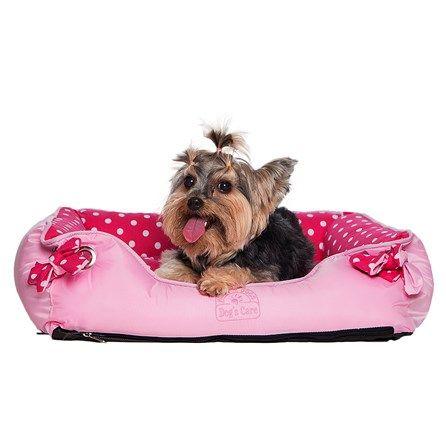 Camas de Cachorro Quadrada Ilhóis Rosa com Poá Dog's Care - MeuAmigoPet.com.br #petshop #cachorro #cão #meuamigopet